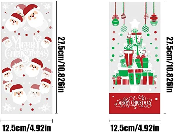 20 Clear Green and Red Dot Bags Christmas Cello Bags Holiday Nut Bags Xmas Candy Bags Holiday Cookie Sacks 5x8 Clear Favor Bags