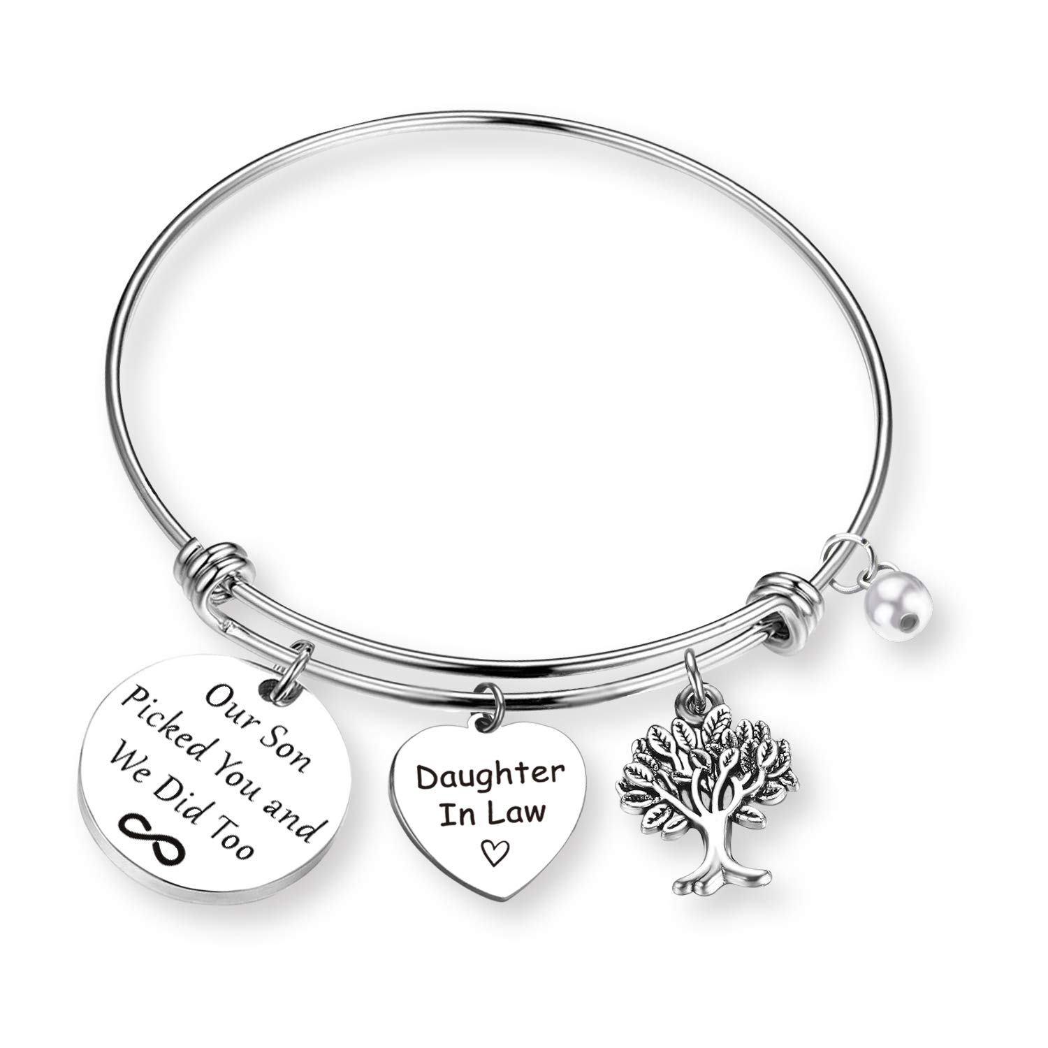 ZNTINA Daughter in Law Gift Bracelet Our Son Picked You and We Did Too Wedding Wishes Gift Jewelry Gift Bride Gift for Bridal Shower (Picked You BR)