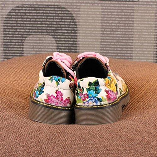 Jamicy® Kinder Schuhe, Kinder Baby Mädchen Blumendruck Leder Lace-Up Casual Martin Schuhe Weiß