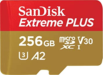 TALLA 256 GB. SanDisk Extreme PLUS - Tarjeta de memoria microSDXC de 256GB con adaptador SD, A2, hasta 170MB/s, Class 10, U3 y V30