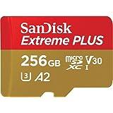 SanDisk Extreme Plus 256GB microSDXC Class 10 minneskort med SD-adapter, guld/röd