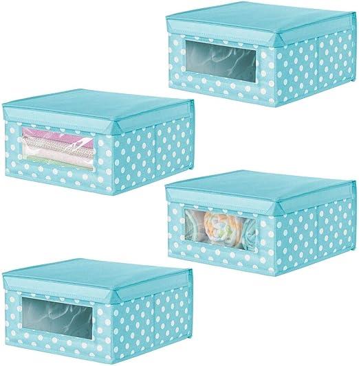 mDesign Juego de 4 cajas apilables medianas – Caja con tapa para ...