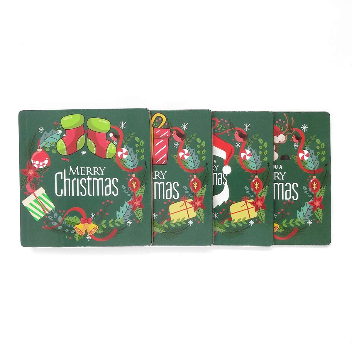 Set of 4 Prevent Furniture from Dirty and Scratched Coaster For Drinks With Vibrant Colors And Cork Backing Christmas Coasters