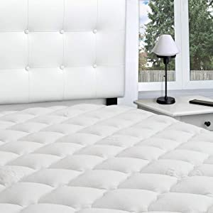 eLuxurySupply Rayon from Bamboo Extra Thick Mattress Pad with Fitted Skirt - Extra Plush Cooling Topper - Hypoallergenic - Proudly Made in The USA, Twin