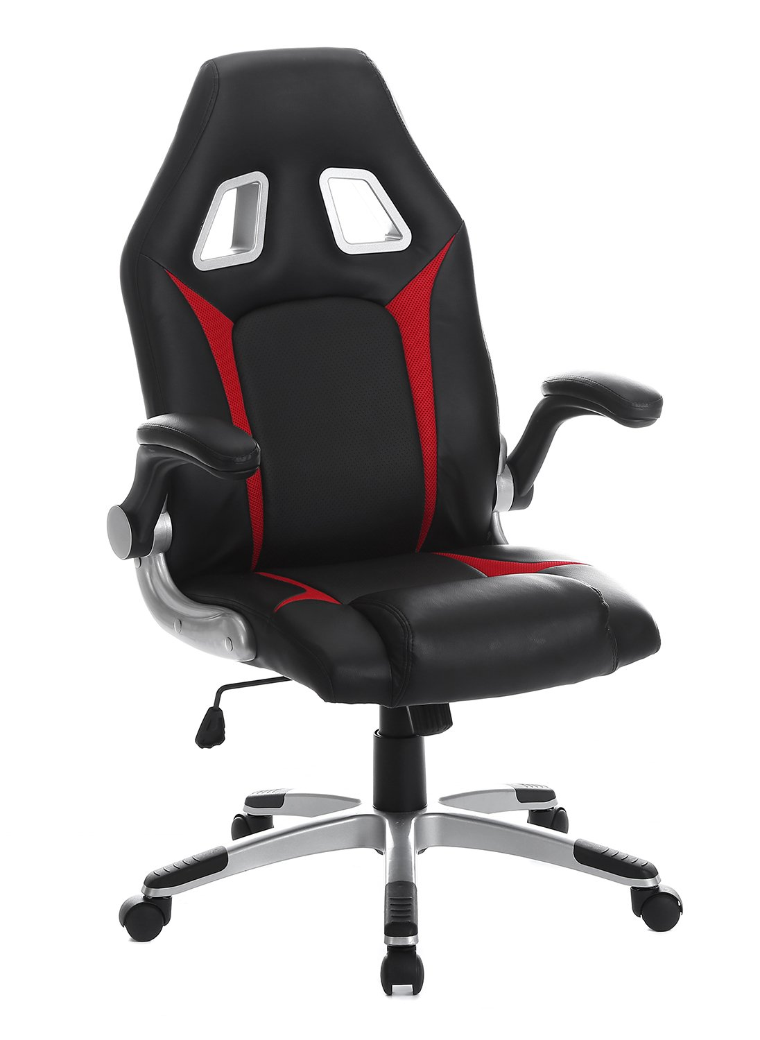 SEATZONE Racing Car Style Gaming Chair with Thick Padded Bucket Seat and Flip-Up Armrest for Home, Office, Video Game Room, Computer Desk, Leatherette, Red