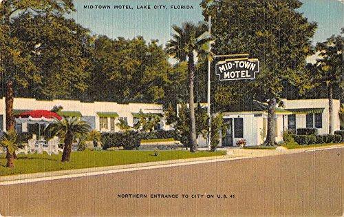 Lake City Florida northern entrance Mid-Town Motel linen antique pc Z20781