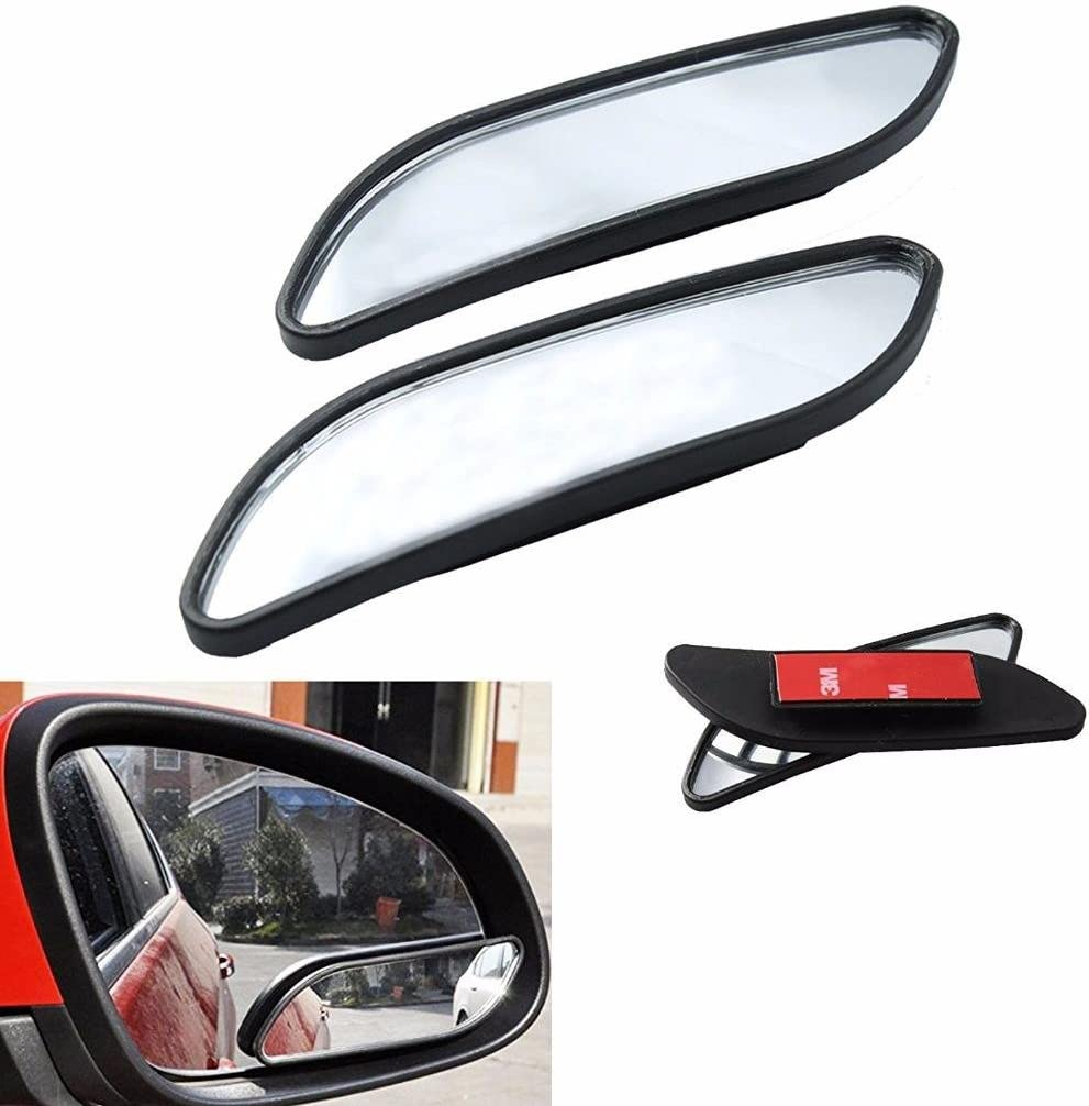 2 Pcs Car Side Long Strip Convex Mirror Rearview Auxiliary Adjustable Blind Spot