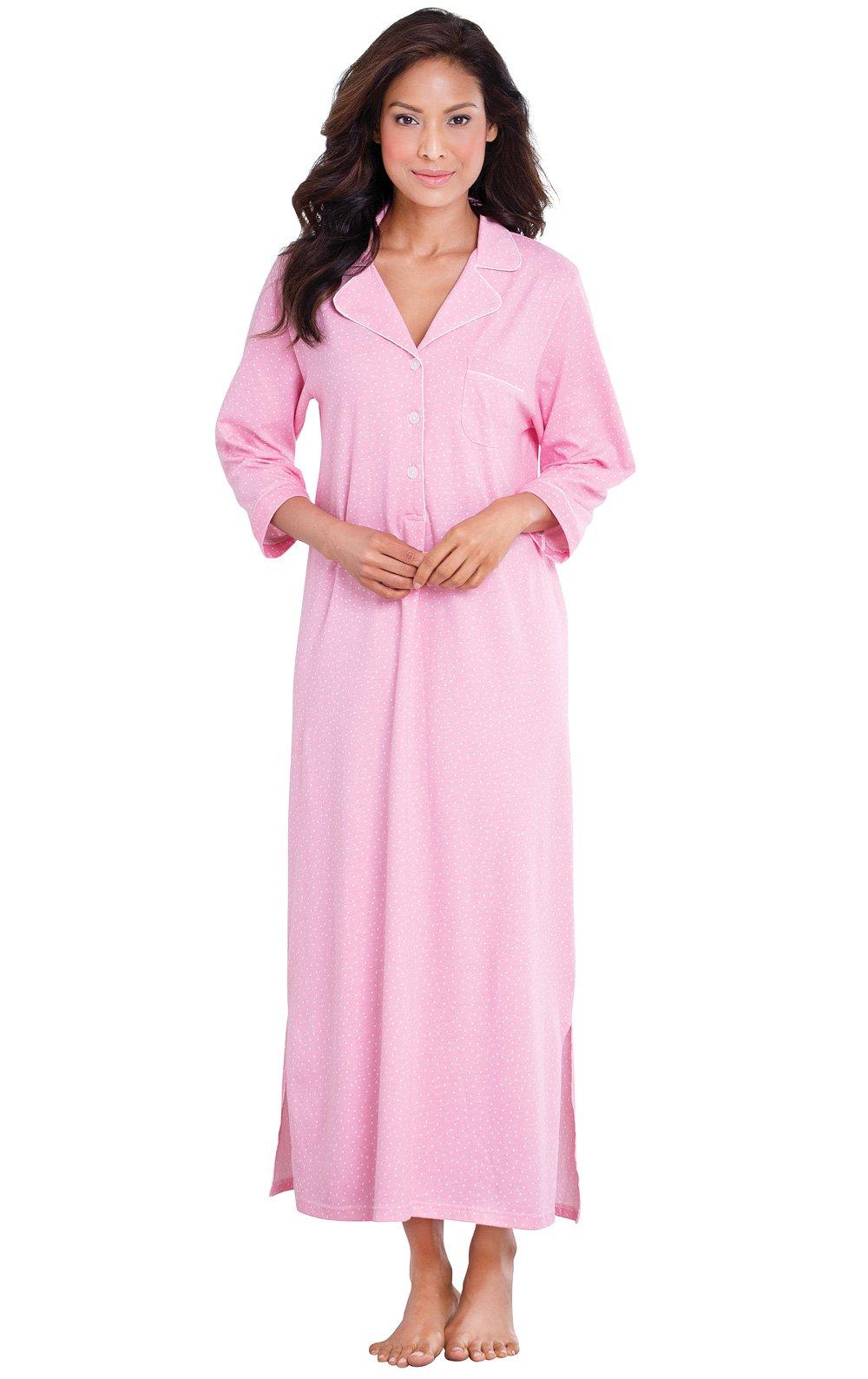 PajamaGram Plus Size Women's Soft Cotton Pin Dot Nightgown, Pink, 3X (24-26) by PajamaGram