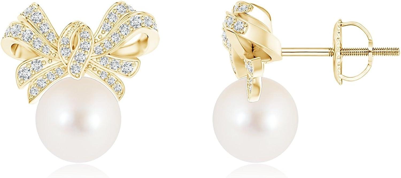 Pendientes de perlas cultivadas en agua dulce con detalles de diamante