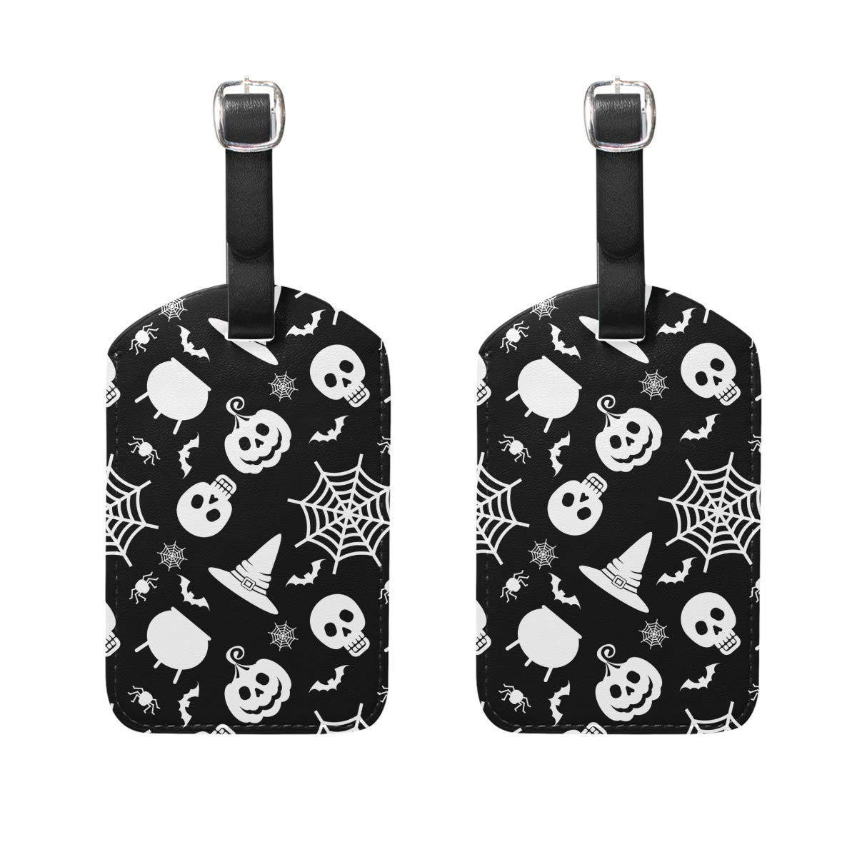 GTdgstdsc Happy Halloween Spider Web Purple Luggage Tag Set of 2 Cruise Ship Women Men Kid Suitcase Label Travel ID Bag Tag with Buckle Leather