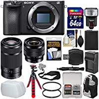 Sony Alpha A6500 4K Wi-Fi Digital Camera Body with 10-18mm f/4.0 & 55-210mm Lenses + 64GB Card + Backpack + Flash + Battery/Charger Kit