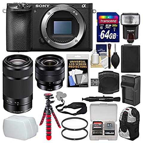 Sony Alpha A6500 4K Wi-Fi Digital Camera Body with 10-18mm f/4.0 & 55-210mm Lenses + 64GB Card + Backpack + Flash + Battery/Charger - Sony 12 Inch