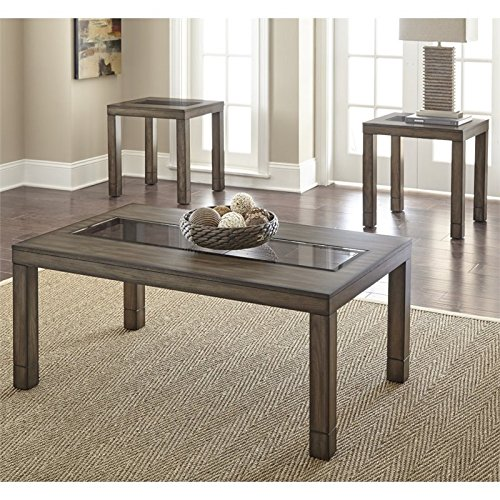 Price comparison product image Steve Silver Normandy 3 Piece Glass Top Coffee Table Set in Oak