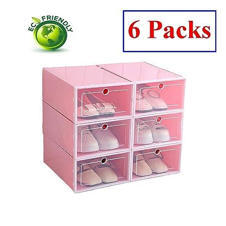 Hwalla Cajas para Zapatos de Plástico Transparente Apilables, Almacenaje Zapatos, Cajas de Almacenaje Plastico