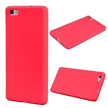 Huawei P8 Lite Carcasa, Moda Rojo Peso Ligero TPU Gel ...
