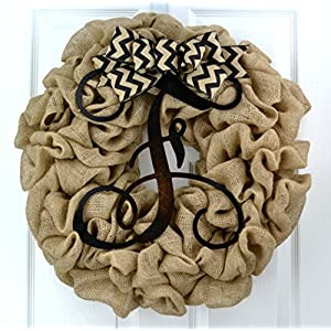 Year Round Initial Wreath | Burlap Monogram Letter Everyday Door Wreath with Bow 45