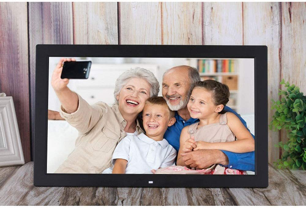 Gohbqany Digital Picture Frames 18.5 Inch Digital Picture Frame 1366768 Pixels High Resolution High Resolution LED Screen USB and SD Card Slots Aluminum Alloy Ultra-Thin Narrow Side Video Frame