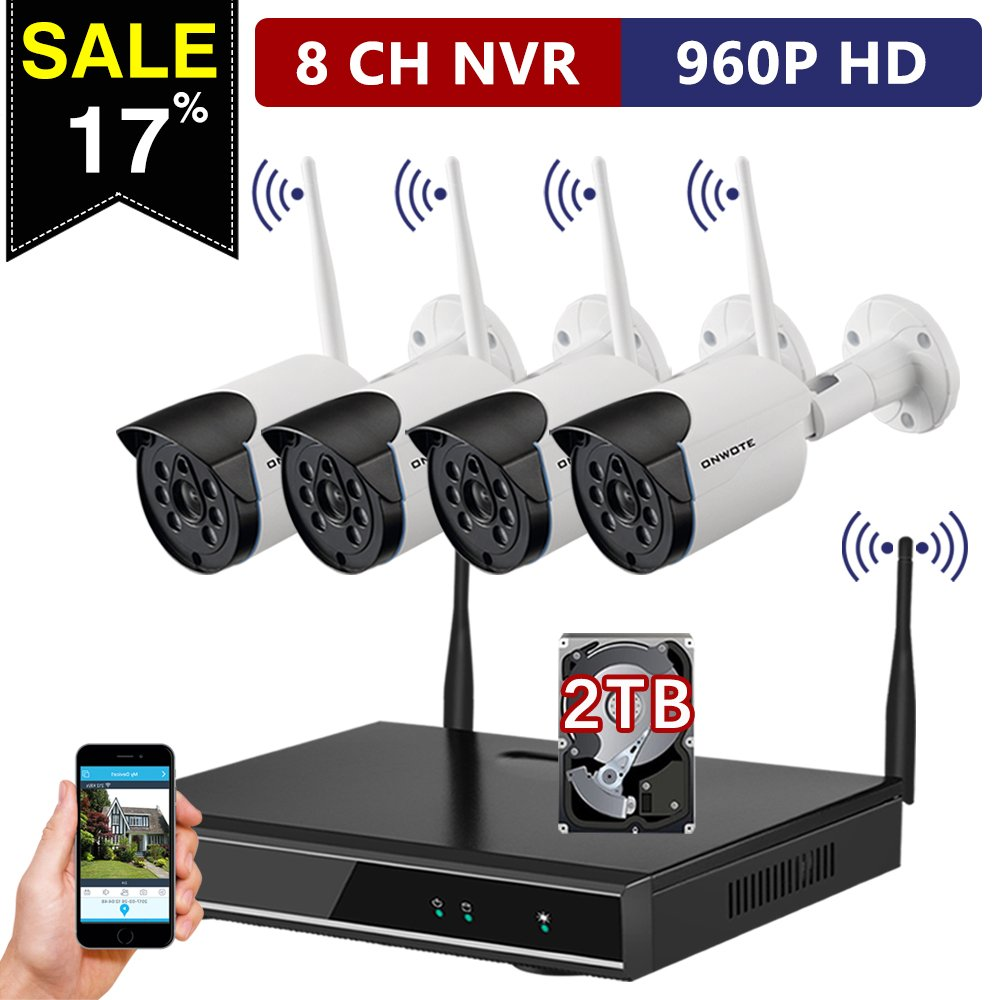 【Expandable System with 2TB Hard Drive】ONWOTE 8 Channel NVR 960P HD Wireless Wifi IP Security Camera System and 4 Indoor/ Outdoor Night Vision 1.3 MP Wireless Camera (NVR Built-in Router, Auto-Pair)