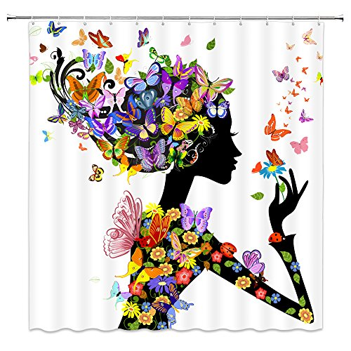 - Feierman Colorful Butterfly Shower Curtain Art Abstract Fairy Girl Bathroom Curtain Decor Machine Washable Waterproof with Hooks 70x70Inches