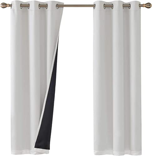 Deconovo Total Blackout Solid Thermal Insulated Faux Silk Satin Panels Darkening Curtain