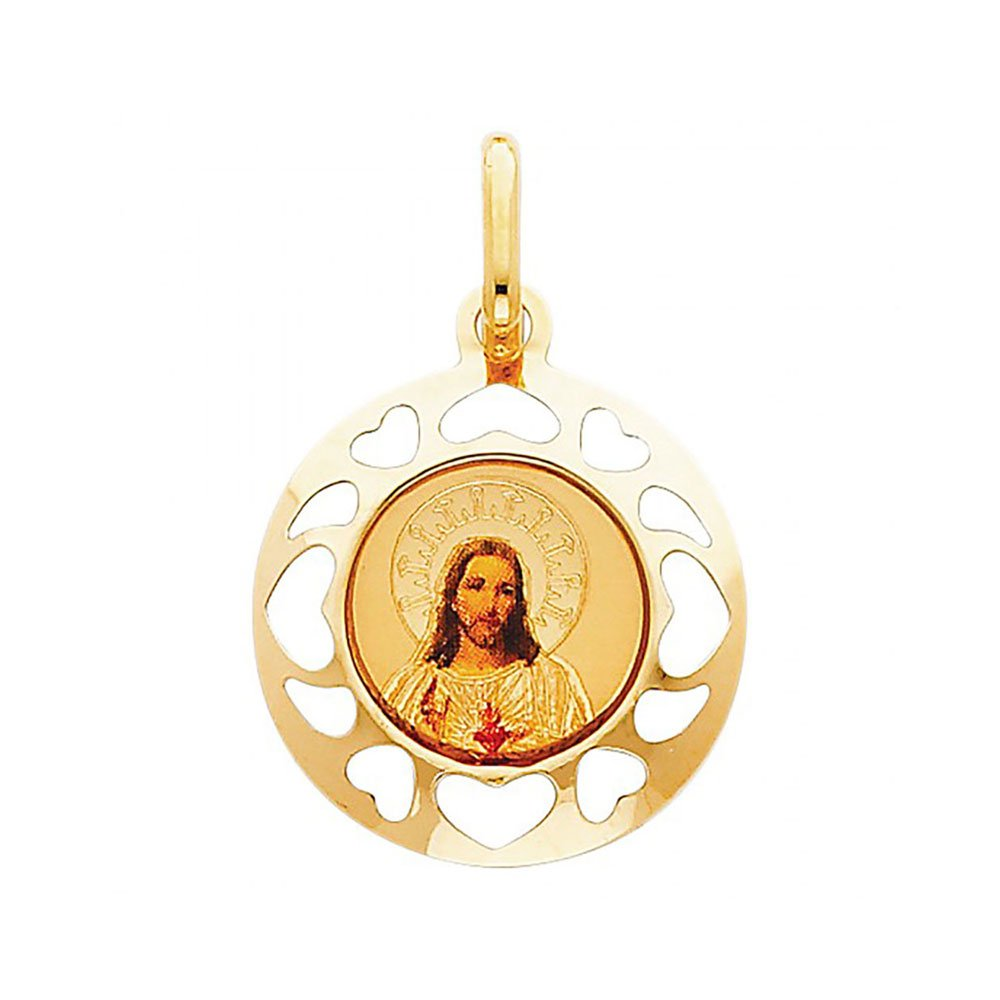 American Set Co 14k Yellow Gold Jesus Heart Enamel Picture Religious Pendant Charm