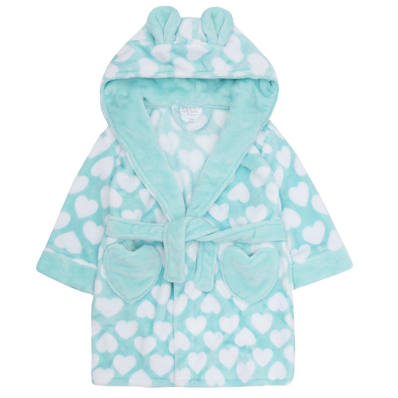 Minikidz Childrens Kids Girls Fleece Dressing Gown - Flannel Fleece Heart Print Hooded Robe