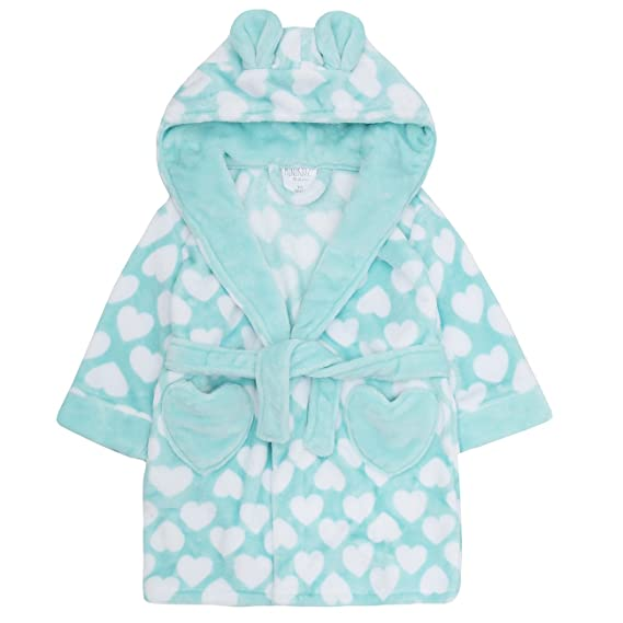519d88fe3b Minikidz Childrens Kids Girls Fleece Dressing Gown - Flannel Fleece Heart  Print Hooded Robe: Amazon.co.uk: Clothing