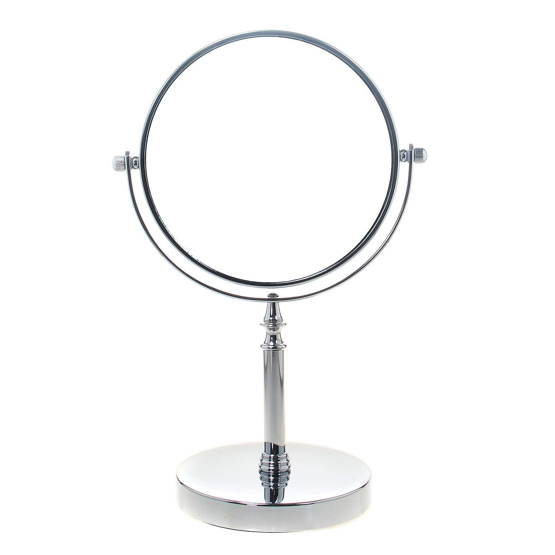 TUKA Miroir Cosmétique sur Pied 5X Grossissement, Ø 20 cm Miroir Maquillage, orientable 360°, Miroir de Rasage, chromage Miroir de Salle de Bain, Double Visage 8 inch Miroir de Table, TKD3141-5x TUKAI