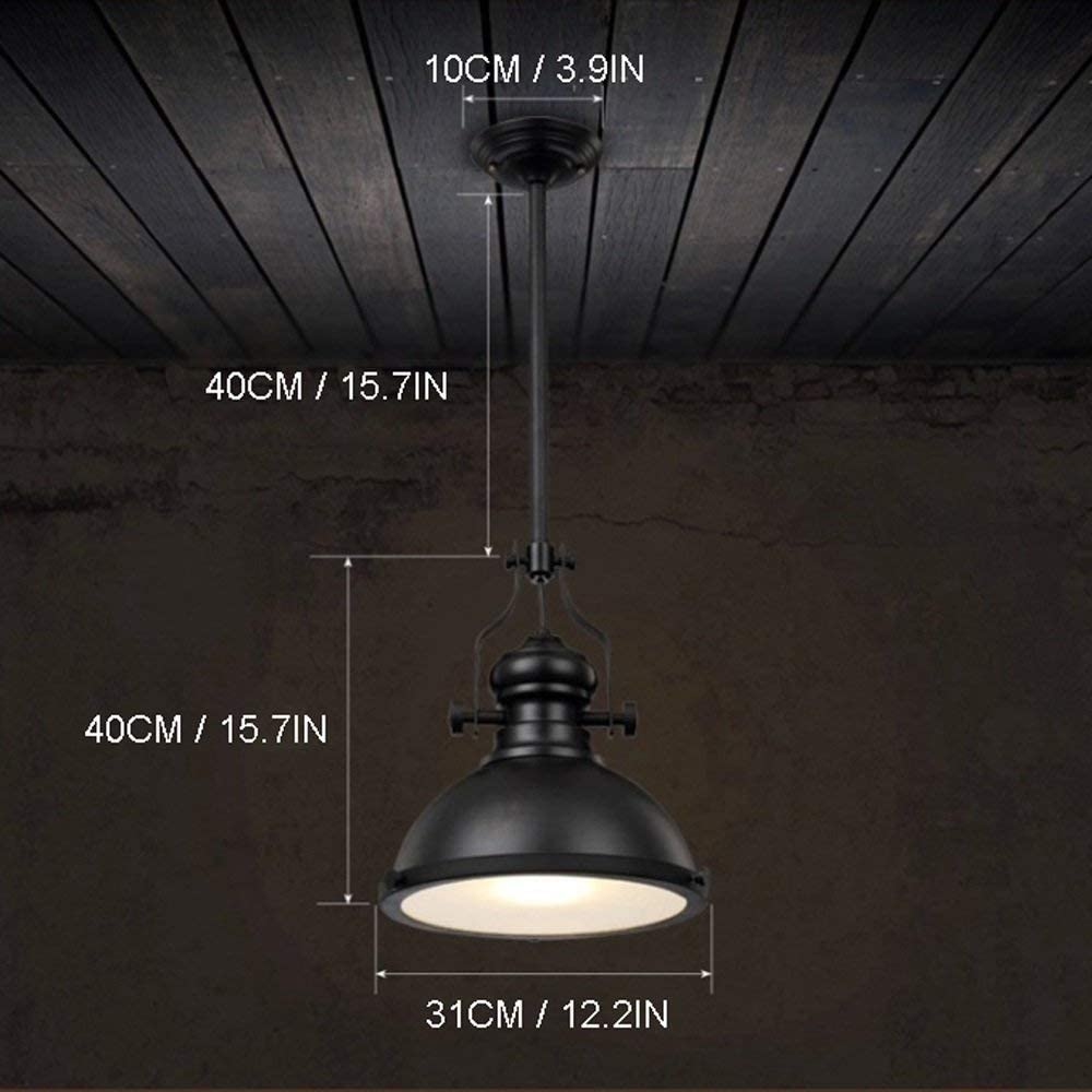 Pendant Light Chandelier American Retro Industrial Round Iron Chandelier Bedroom Living Room Kitchen Dining Room Elegant E27 Chandelier Diameter: 31CM 2