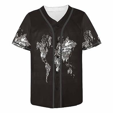 World Map Button Down Shirt.Amazon Com Interestprint Men S Button Down Baseball Jersey Global