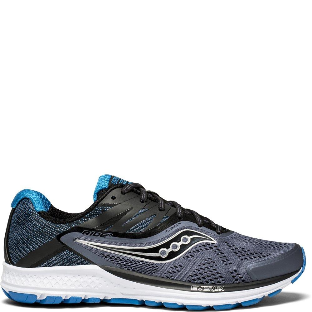 Saucony Men's Ride 10 Running Shoe, Grey/Black/Blue, 10.5 Medium US