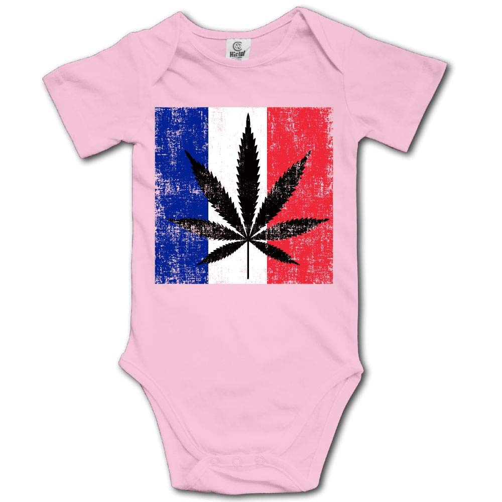 TO-JP French Flag Weed Cannabis Baby Short-Sleeve Onesies Bodysuit Baby Outfits