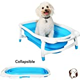 "BaileyBear Porta Tubby Collapsible Portable Foldable Dog Cat Bath Tub, Expandable Grooming Washing Accessory for Small Medium Pets, 31.5""x17.3""x8.7"""