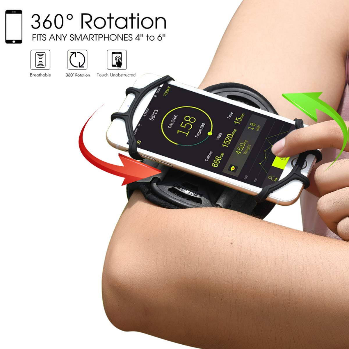 best service 53ab0 1e3d7 Sports Running Armband case for iPhone Xs/XS Max/XR/X/8/8 Plus/7  Plus/7/6S,Samsung Galaxy Note 9/8/S9 Plus/S8/S7/S6 Edge&4''-6.5''Phone,360  Rotable ...