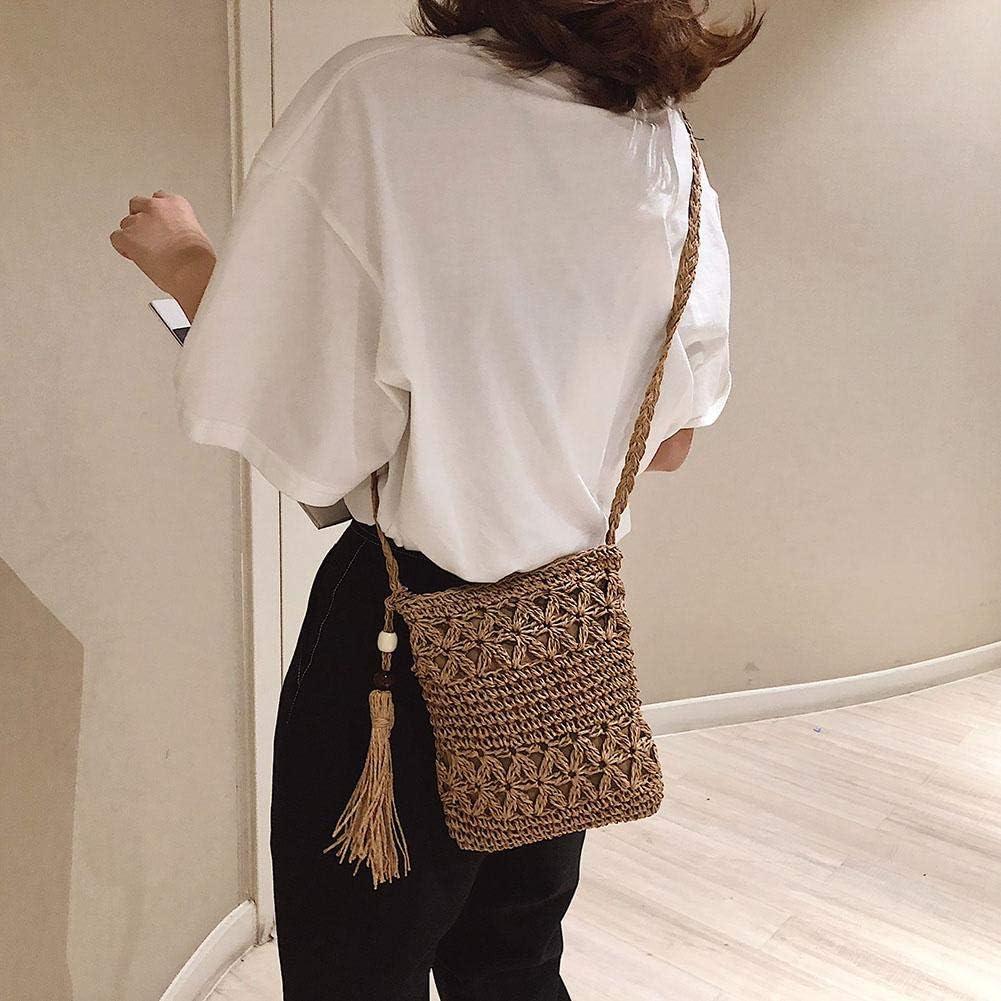 Solid Color Tassel Shoulder Handbags Women Woven Beach Casual Messenger Bag Summer//Travel//Street Beat//Work//Daily