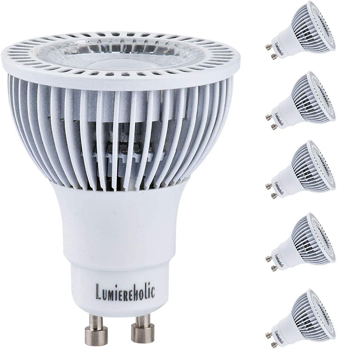 Lumiereholic LED GU10 LED Bulbs 90W Halogen Replacement 10w 3200K Warm White Spotlight,Led Recessed Ceiling Light,Indoor Lighting 120v UL Listed 5 Pack