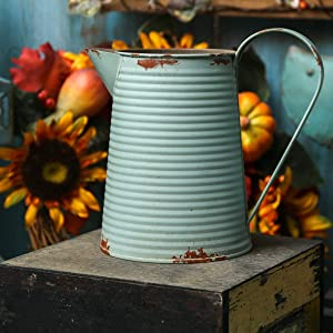 APSOONSELL Shabby Chic Decor Blue Metal Flowers Vase Decorative Vintage Pitcher Rustic Farmhouse Decor for Home