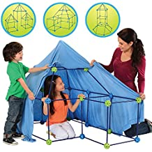 Discovery Kids Building Tent 77 Piece Construction Fort Kit for Kids, Indoor Build & Play Castle STEM Toy Set, Interactive, Educational, Inspirational, Creative Imagination Toys for Children 5 Years+