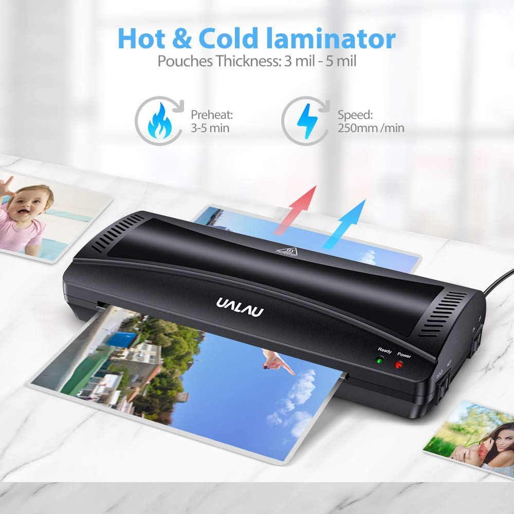 9 Inches Hot /& Cold Fast Lamination with Laminating Pouches Fast Warm-Up Corner Rounder for Home//Office//School UALAU Thermal Laminator Machine Paper Trimmer Jam-Release