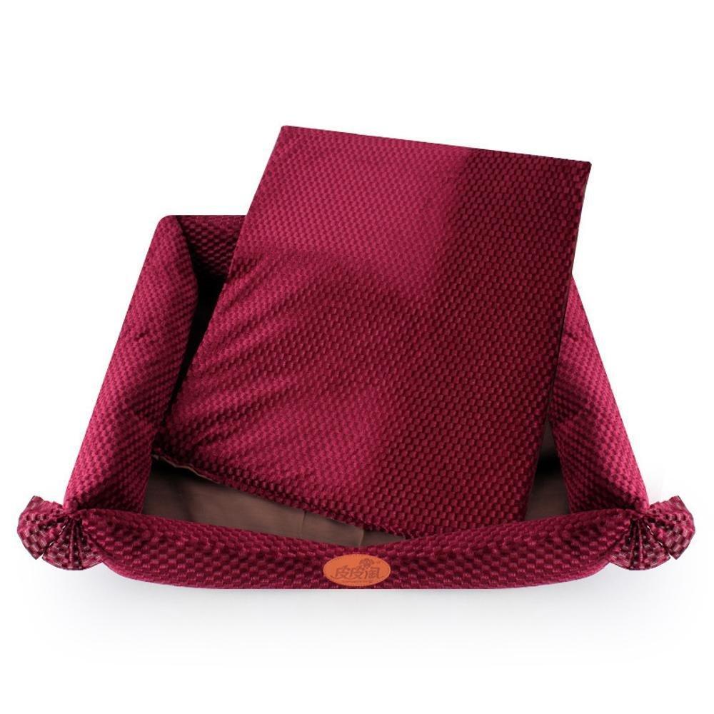 Weiwei Dog Bed Plaid Velvet Ribbon Butterfly Knot Three Pieces Set Kennel Pet Supplies Dog Bed mat