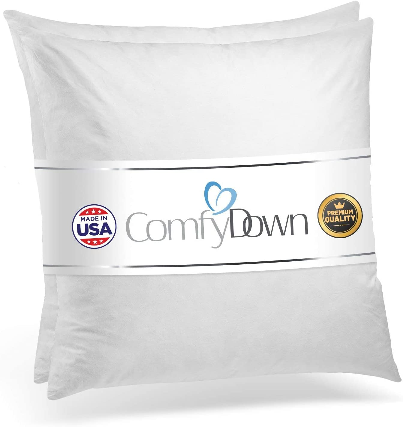 Comfydown Set Of Two 95 Feather 5 Down 22 X 22 Square Decorative Pillow Insert Sham Stuffer Made In Usa Home Kitchen