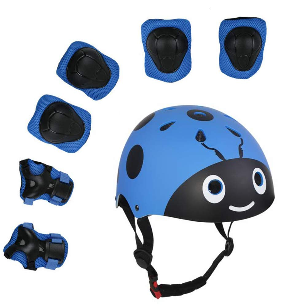 XINGCHENGSPORT Kids Multi-Sport Helmet with Knee Elbow Pads and Wrists 7 Pieces Kids Boys and Girls Outdoor Sports Safety Protective Gear Set for Skateboard Cycling Skate Scooter 4-8 Years Old