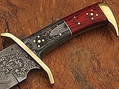 Custom Made Damascus Steel Rattler Bowie Knife w/ Frost Wood Handle