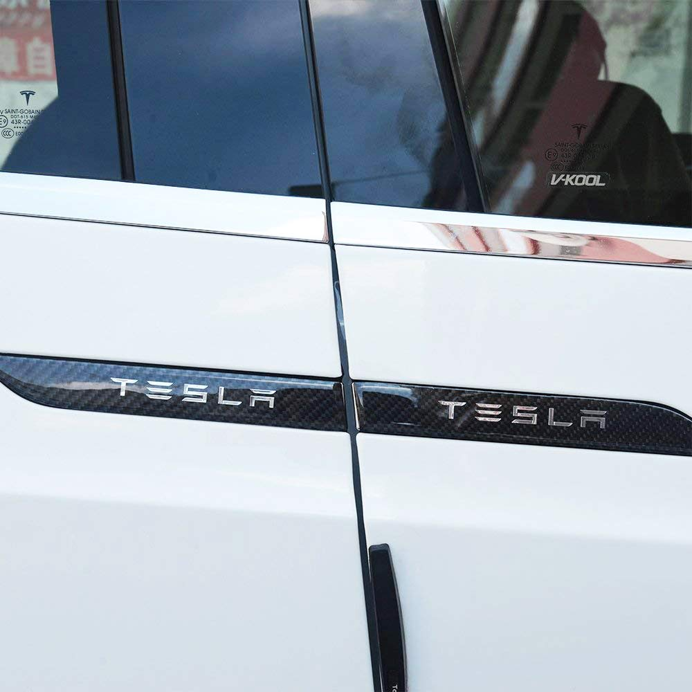 Car Door Handle Cover,Carbon Fiber Decorative Trim Door Handle Protector Sticker for Model X 4 of set