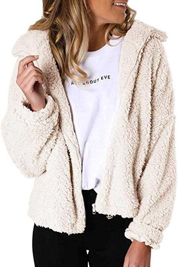 LILILIHOT - Chaqueta para mujer, con cremallera, de pelo sintético, de manga larga, forro polar Fuzzy Revers, para invierno, abrigo cálido, para exterior, para mujer, de forro polar