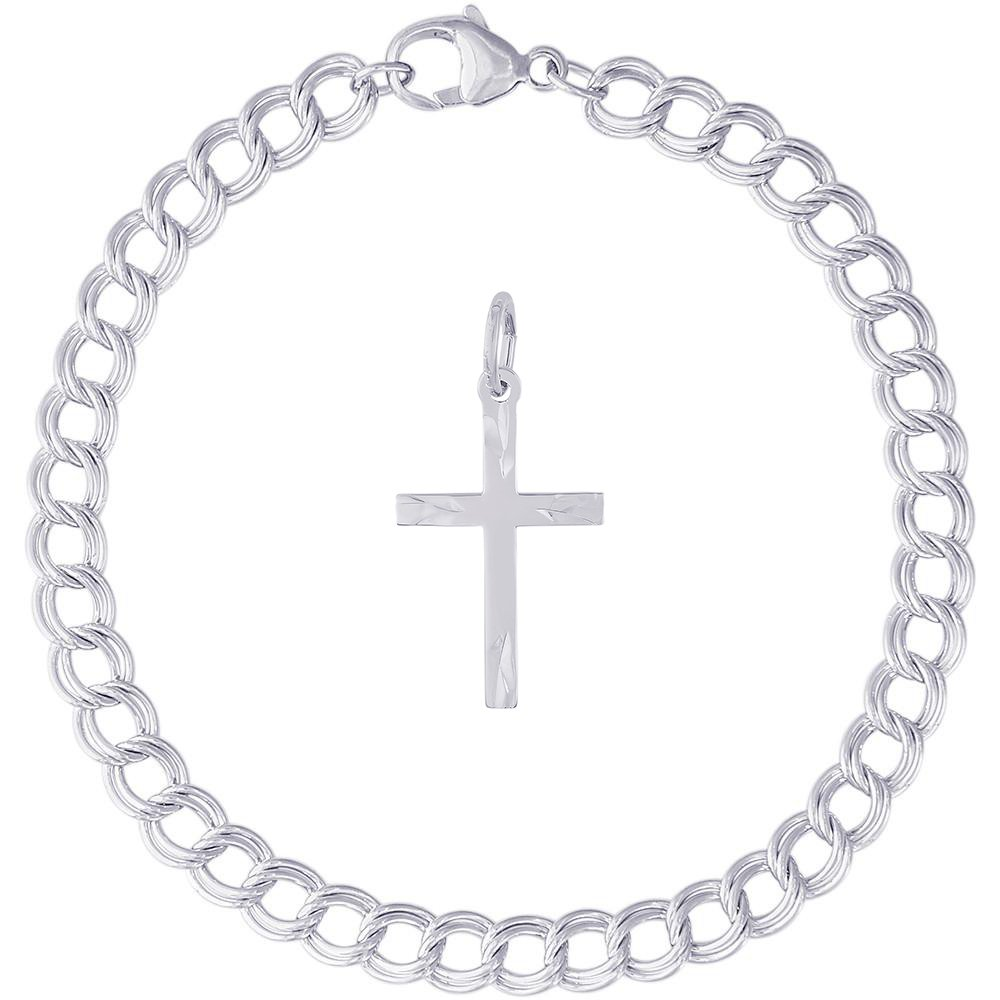 Rembrandt Charms Sterling Silver Medium Flared Ends Cross Charm on a Double Link Bracelet, 8'' by Rembrandt Charms