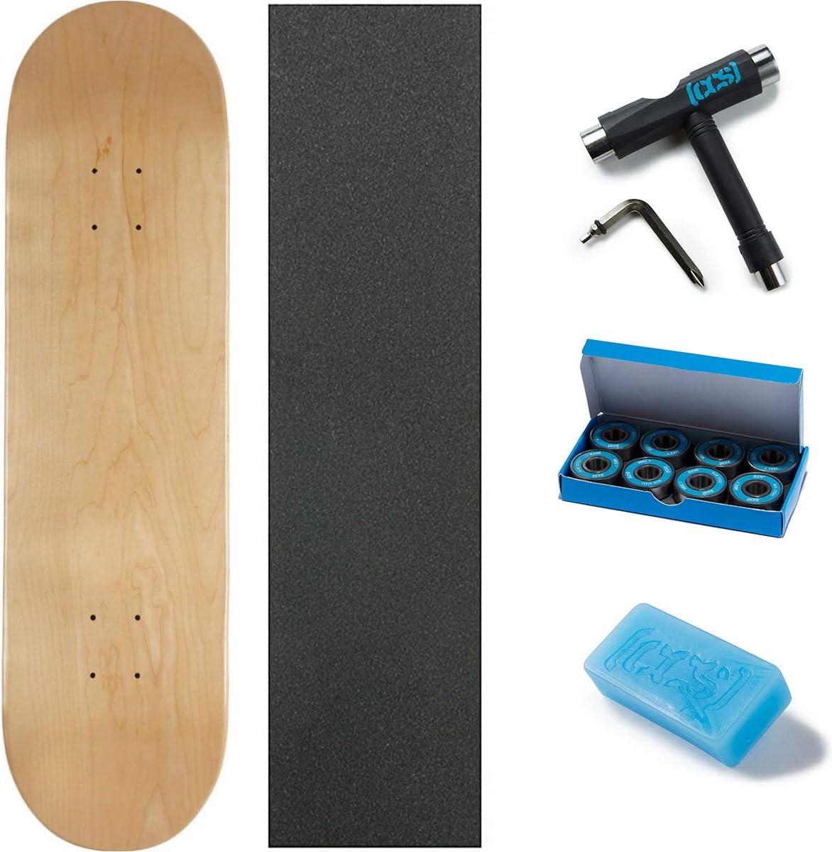 and ABEC 7 Bearings Wax Skate Tool CCS Logo Blank Skateboard Deck Pink 8.0 W//Mob Grip