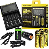 Nitecore D4 Digicharge universal home/in-car battery charger, Four Nitecore 18650 NL188 3100mAH rechargeable batteries with 2 X EdisonBright AA to D type battery spacer/converters