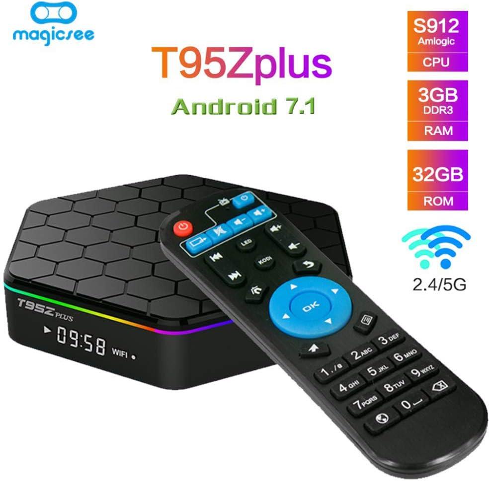 YPSMLYY T95Z Plus Android 7.1 Smart Network TV Box 3GB RAM / 32GB ROM Reproductor De Red Octa Core Amlogic HD Soporte 4K Dual Band WiFi 2.4GHz / 5GHz Bluetooth 4.0: Amazon.es: Hogar