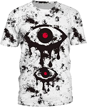 Women Summer Auturn Short Sleeve T Shirts Big Eyes Printed Ladies Casual Tee Tops-Size L